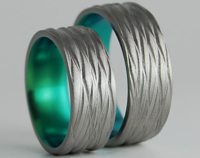 Sphinx Bands in Immortal Green , Titanium Rings , Wedding Bands , Promise Rings , Ring Set