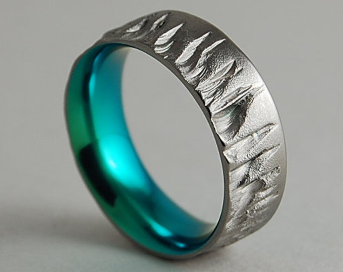 Mercury Band in Immortal Green with Comfort Fit interior , Mens Wedding Band , Titanium Ring ,  Promise Ring