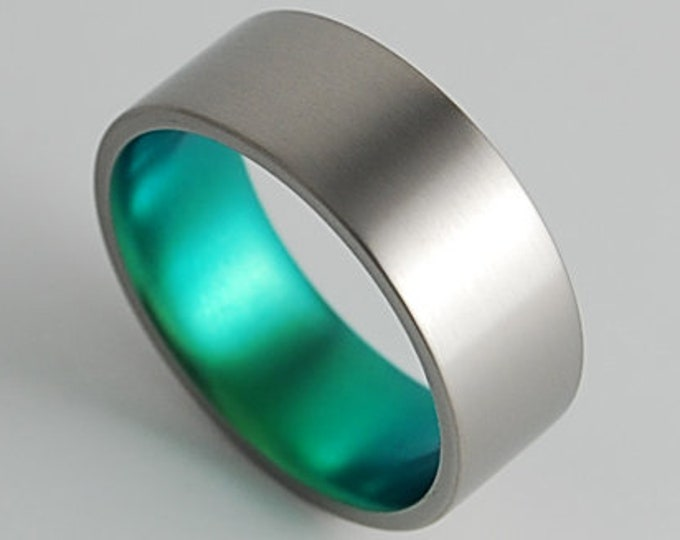 Apollo Band in Immortal Green , Titanium Ring , Wedding Band , Promise Ring