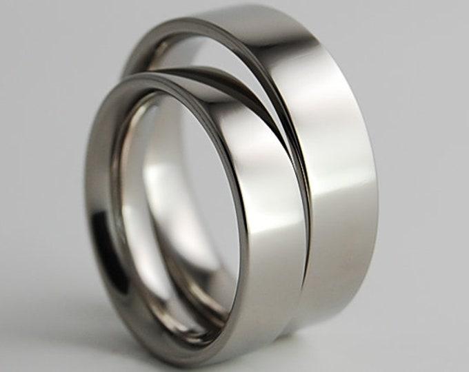 Titanium Ring Set, Wedding Band Set, Wedding Ring Set, His and Hers Ring Set, Titanium Rings, Wedding Rings, Promise Rings, Wedding Bands