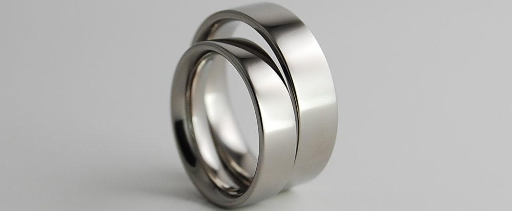 Titanium Ring Set Wedding Band Set Wedding Ring Set His And