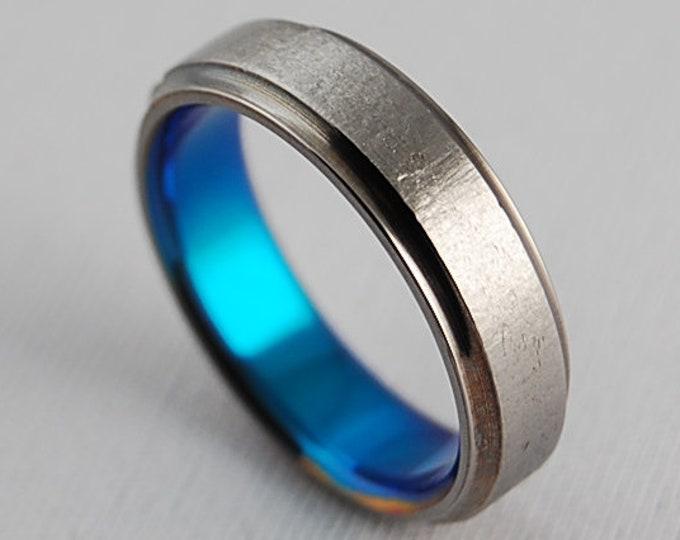 Neptune Band in New Beginning Blue , Titanium Ring, Wedding Band , Promise Ring