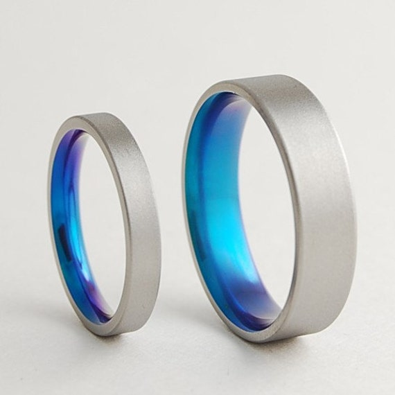 Titanium Ring Cosmos Band with Comfort Fit Interior Wedding Band Promise Ring