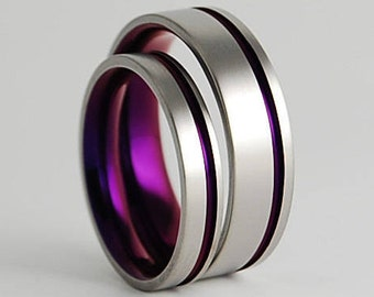 Cosmos Bands in Mystic Purple , Wedding Bands , Titanium Rings , Promise Rings