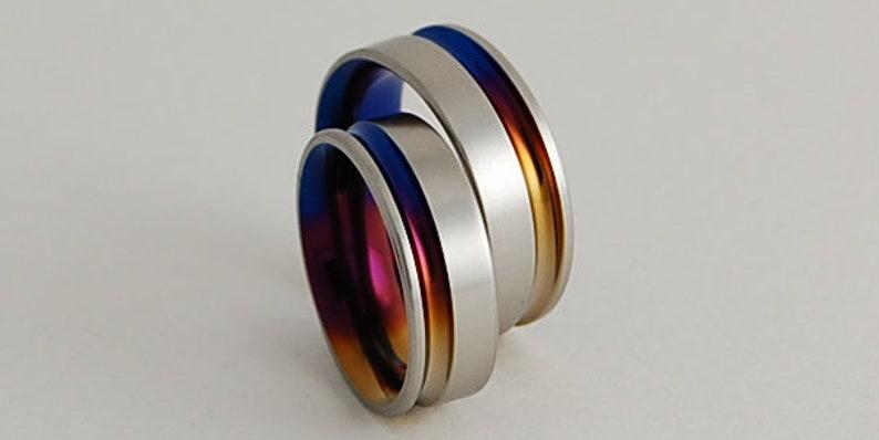 Titanium Ring Set Titanium Rings Wedding Rings Promise Rings Wedding Ring Set Wedding Band Set Wedding Bands His and Hers Ring Set