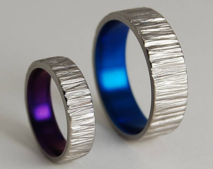 Jupiter Bands in Mystic Purple and Nightfall Blue , Titanium Rings , Wedding Bands , Promise Rings