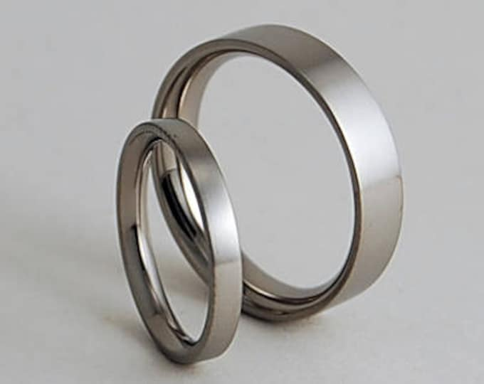 Aphrodite and Apollo Bands with Comfort Fit Interiors , Titanium Rings , Wedding Bands , Promise Rings , Wedding Band Set