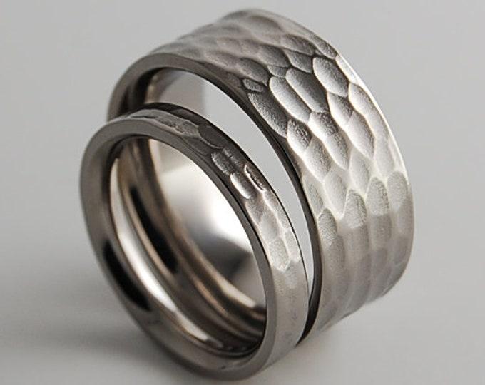 Titanium Rings , Wedding Bands , Promise Rings , His and Hers Ring Set , Rustic Ring Set , Wedding Ring Set , Wedding Band Set