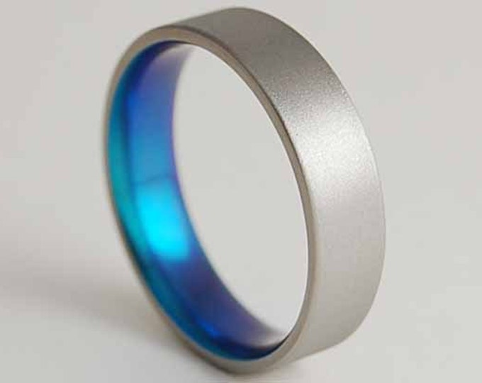 Apollo Band in New Beginning Blue with Comfort Fit Interior , Titanium Ring , Wedding Band , Promise Ring
