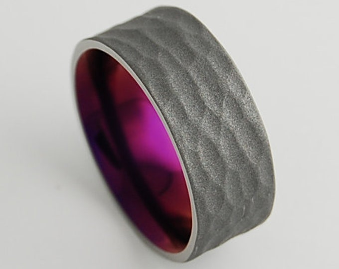Apollo Band with Comfort Fit Interior and Hammered Sandblasted Exterior , Titanium Ring , Wedding Band , Promise Ring