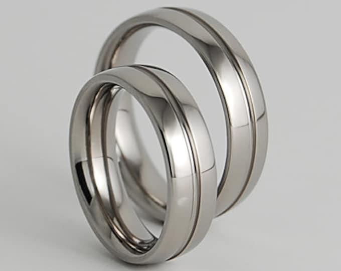 Wedding Ring Set , Wedding Band Set , Titanium Ring Set , Titanium Rings , Wedding Bands , Promise Rings , His and Hers , Wedding Rings