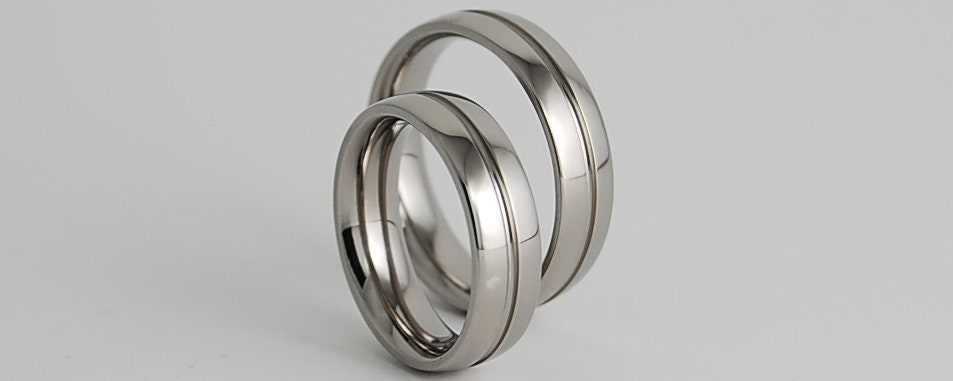 Wedding Ring Set Wedding Band Set Titanium Ring Set