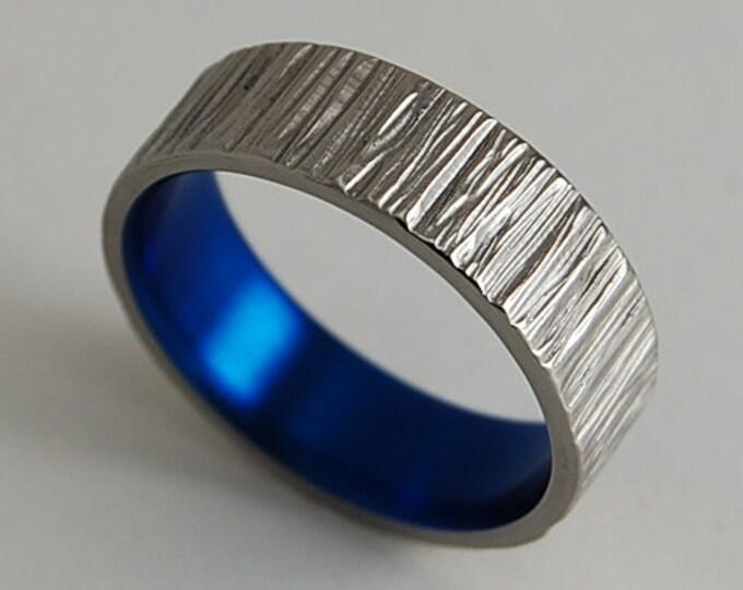 Jupiter Band in Nightfall Blue , Titanium Ring , Wedding Band , Promise Ring