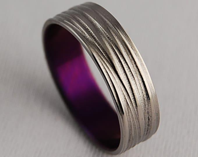 Sphinx Band in Mystic Purple , Titanium Ring , Wedding Band , Promise Ring