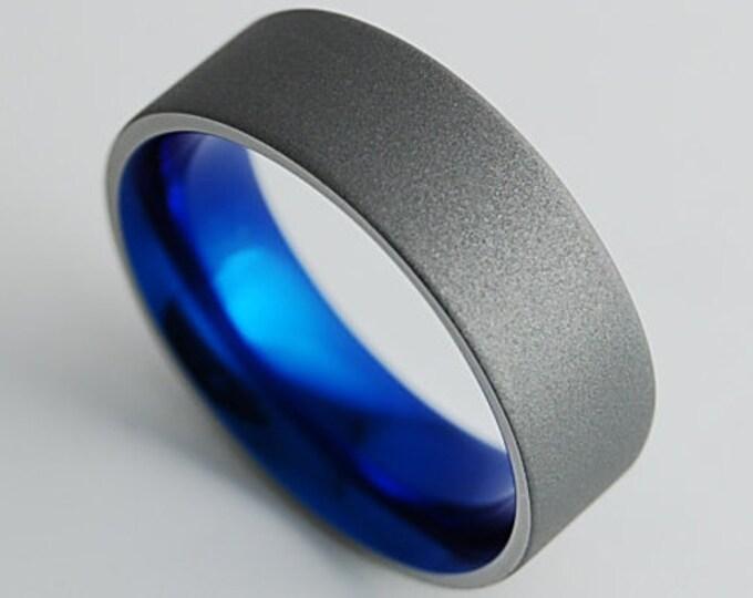 Apollo Band in Nightfall Blue with Comfort Fit , Titanium Ring , Wedding Band , Mens Titanium Wedding Ring , Mens Titanium Wedding Band