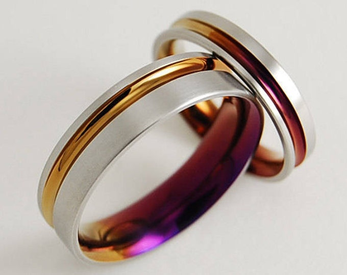 Cosmos Bands in Bronze and Purple Wine , Wedding Bands , Titanium Rings , Wedding Band Set , Wedding Ring Set , Promise Rings