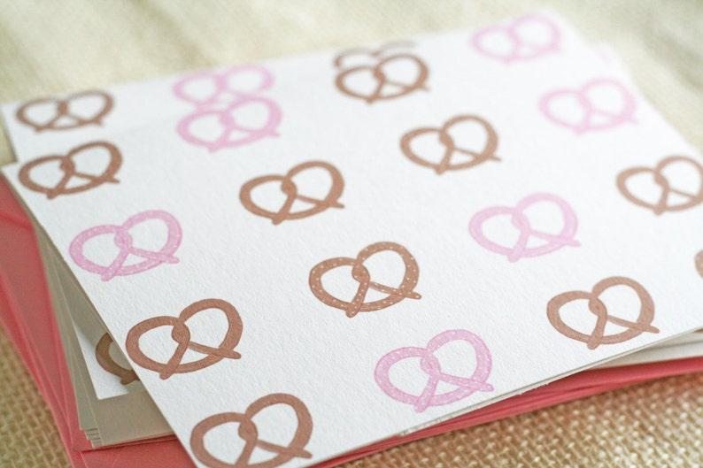 Illustrated Pink Pretzel Folded Blank Greeting Card Stationery Set