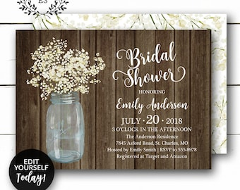 55283ddce644 Rustic Bridal Shower Invitation - Baby s Breath Barn Wedding Shower Invite  - White and Cream Floral - Mason Jar