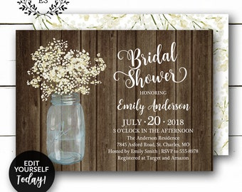 c7274dde3d6 Rustic Bridal Shower Invitation - Baby s Breath Barn Wedding Shower Invite  - White and Cream Floral - Mason Jar