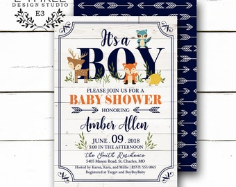 Woodland Animal Baby Shower Invitations - Rustic Baby Boy Shower Invitations  - Navy ce352221ec