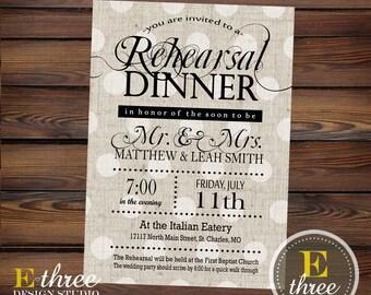 Rehearsal Dinner Invitations - Rustic Black and Gray Linen Wedding Rehearsal Invitations - Elegant Neutral