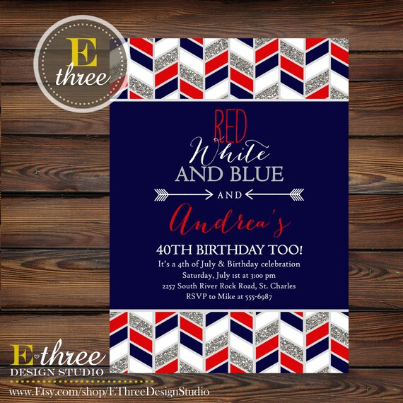 4th Of July Birthday Party Invitation Red White And Blue