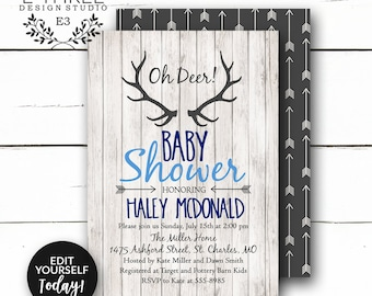 Rustic Baby Boy Shower Invitations - Deer Antler Boy's Shower Invitation - Navy, Gray, Light Blue - Rustic Wood, Arrows, Deer #1002