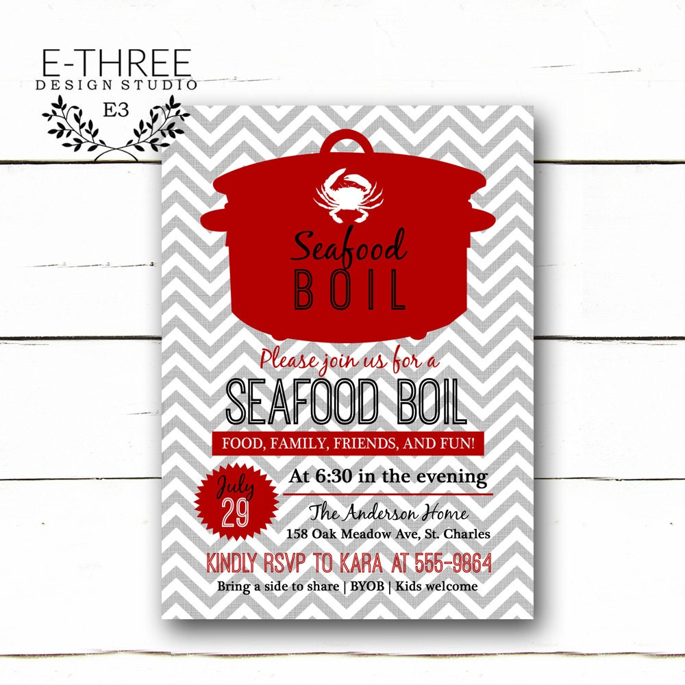 Seafood Boil Invitation Shrimp and Crab Boil Party | Etsy