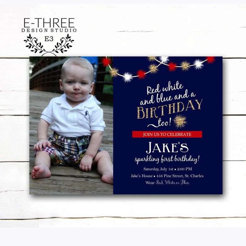 Kids 4th Of July Birthday Party Invitation Photo Card