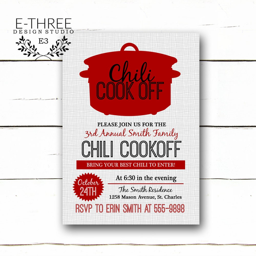 Chili Cookoff Invitation Fall Party Invitations Red and | Etsy