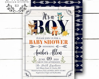 Woodland Animal Baby Shower Invitations - Rustic Baby Boy Shower Invitations - Navy, Orange, Teal - Arrows, White Wood - Fox, Deer, Raccoon