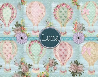 INSTANT DOWNLOAD Shabby Chic Hot Air Balloons  No.260