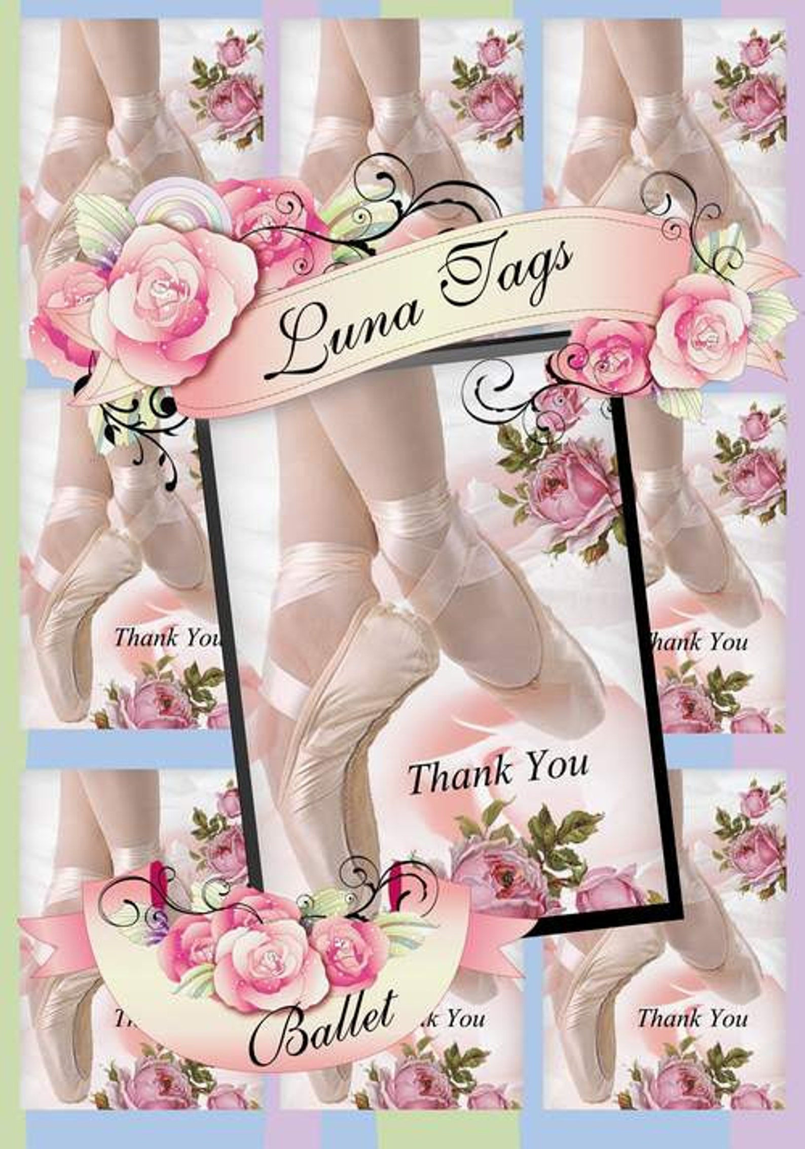 instant download thank you ballet shoes no:531