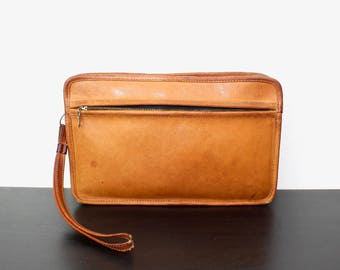 Vintage Coach British Tan Leather Wristlet Clutch Bag, Small Purse, Electronics Organizer Case, Vintage Patina, 1980s 040565