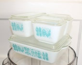 Vintage Complete Set of Four Turquoise Butterprint Pyrex Baking Dishes, Refrigerator Storage Containers 190023