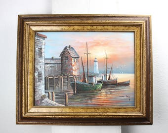 Vintage Harbor Scene Oil Painting, Max Savy, Multicolor Oil, Canvas, Wood Framed Art, Wall Decor, 1950s Ready to Hang 430031