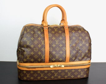 68d259dc306 Vintage Louis Vuitton Monogram Sac Sport Travel Bag, Large Duffle  Weekender, Bottom Compartment, Top Handles, Carry On, 1980s France 070087