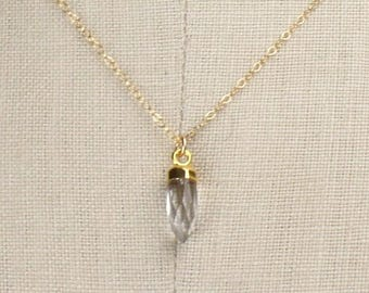 Tiny Crystal Quartz Spike Pendant Short Gold Necklace, Electroplated 14K Gold, Gold Chain, 16 Inch, Simple Handmade Necklace 450303