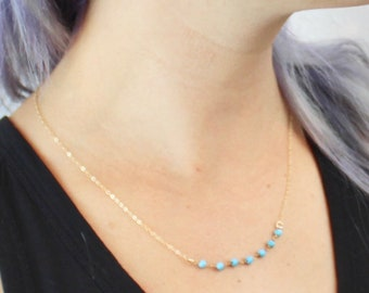 Turquoise Beaded Gold Necklace, 14K Gold Chain, 18.5 Inch, Simple Handmade Layering Necklace, Handmade Gold Jewelry