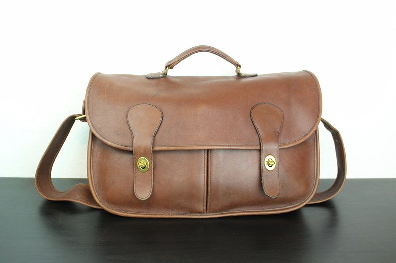 Vintage Coach Musette Carrier Bag Mahogany Brown Leather  14cc2968ad730