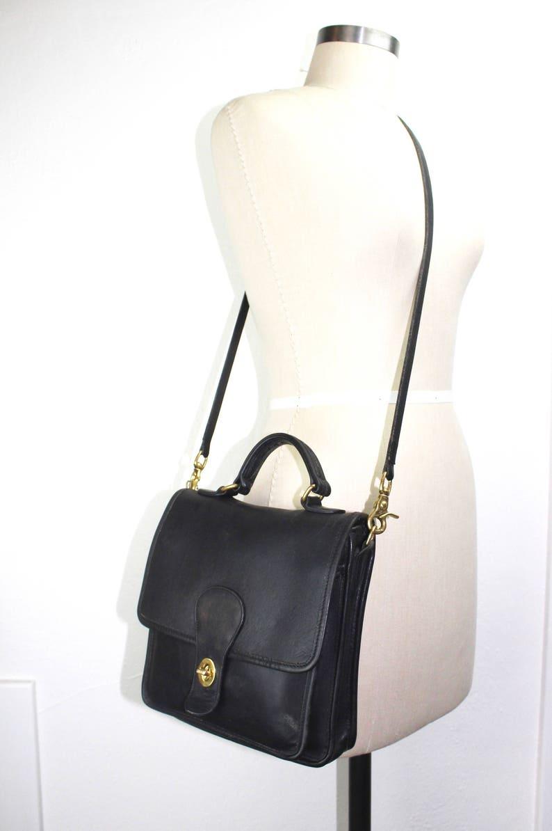 582ea4b1137e9 Vintage Coach Station Bag, Black Leather Convertible Cross Body Purse 040560