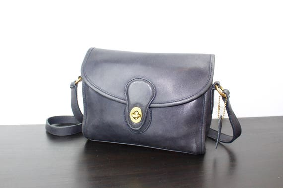 5a63a9a77a0 Vintage Coach Devon Messenger Bag Navy Blue Leather Cross   Etsy