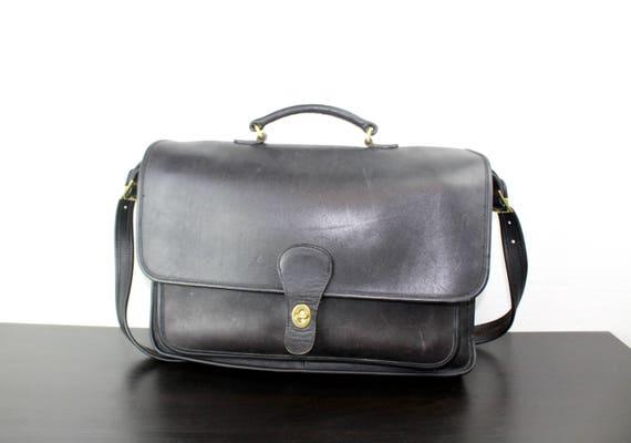 vintage coach rambler briefcase dark brown leather foldover etsy rh etsy com