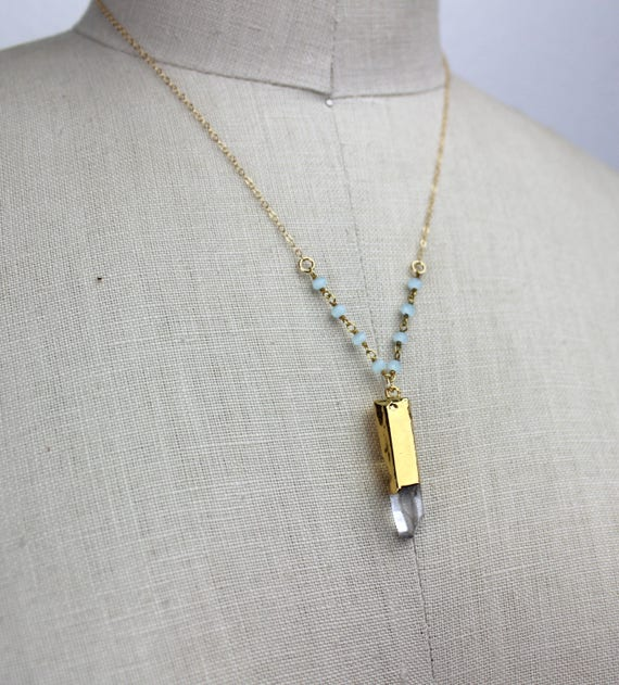 Handmade Long Gold Necklace with Aqua Blue Chalcedony Beaded Chain 450439 Crystal Quartz Pencil Point Pendant