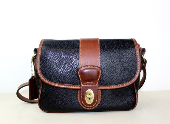 59442991b7d Vintage Coach Sheridan Messenger Cross body Bag Navy and   Etsy