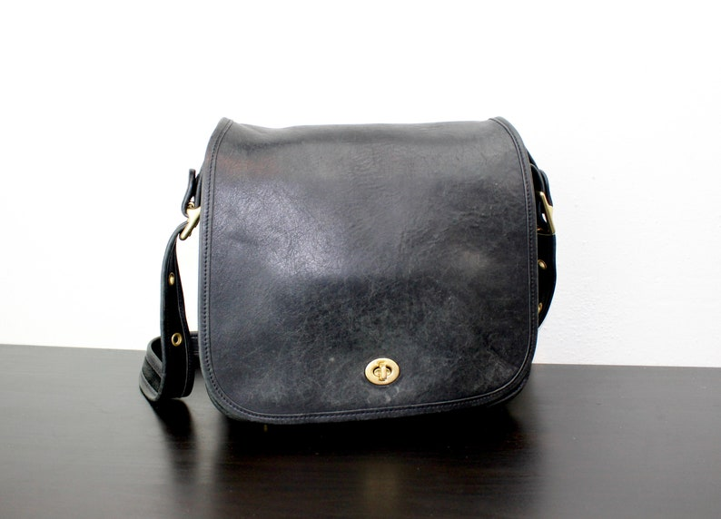 Vintage Coach Stewardess Bag Black Leather Large Shoulder  8f7b84bdd42f6