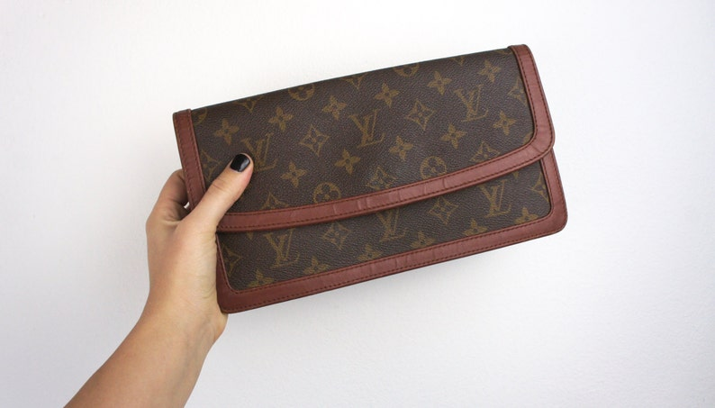 ce94f34ef52c Vintage Louis Vuitton Clutch Evening Bag Monogrammed Brown