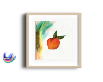 Juicy Peach art print, watercolor, fruit, peach, abstract art, watercolor, illustration, peach & green