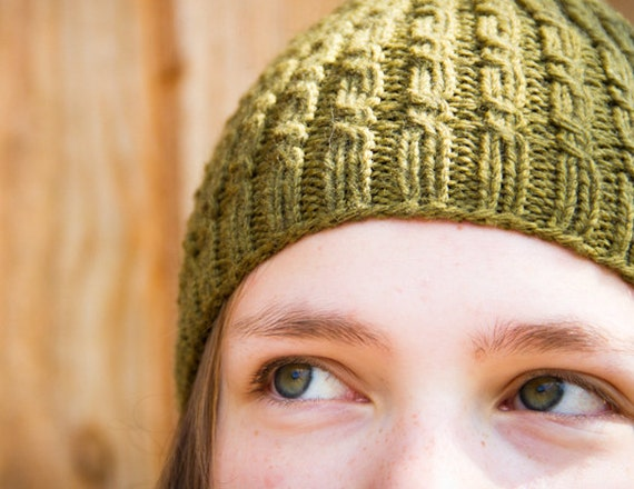 Cascades Cabled Beanie Pdf Knitting Pattern Knitted Etsy