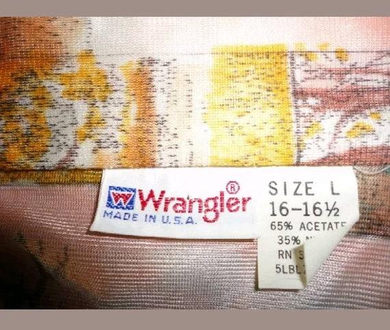 Vtg 1970's Wrangler mens Western Shirt. L - image 3